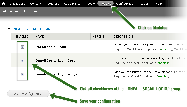 Drupal 7- Enable Social Login
