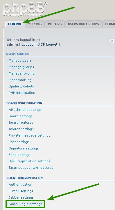 phpBB 3.0.x : Social Login Configuration