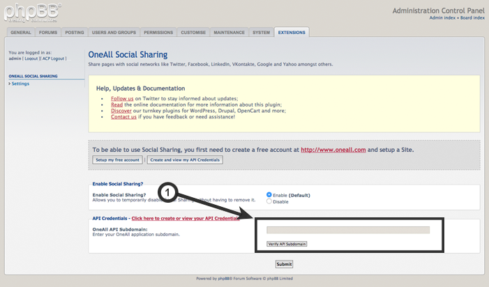 phpBB 3.1.x :  Social Sharing Settings