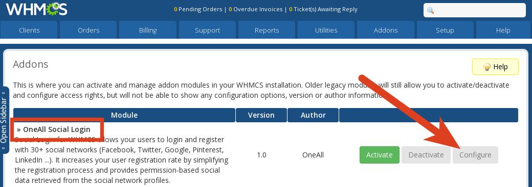 WHMCS Social Login Configure